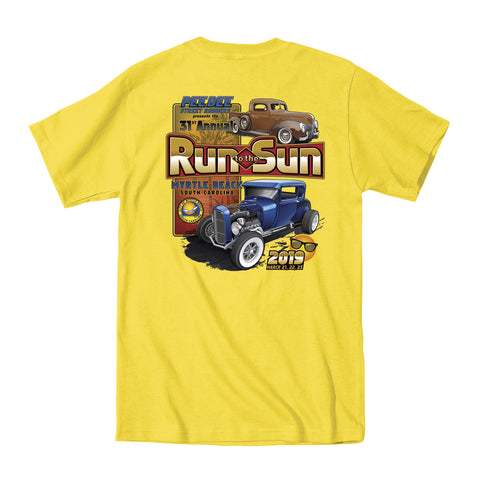 2019 Run to the Sun official car show event t-shirt yellow Myrtle Beach, SC