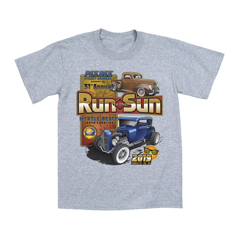2019 Run to the Sun official classic car show event youth t-shirt gray Myrtle Beach, SC