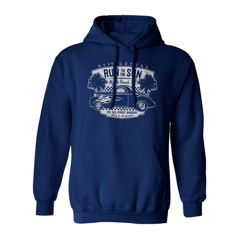 2019 Run to the Sun official car show hooded sweatshirt navy Myrtle Beach, SC