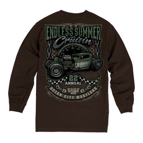 2019 Cruisin Endless Summer car show long sleeve t-shirt dark brown Ocean City MD