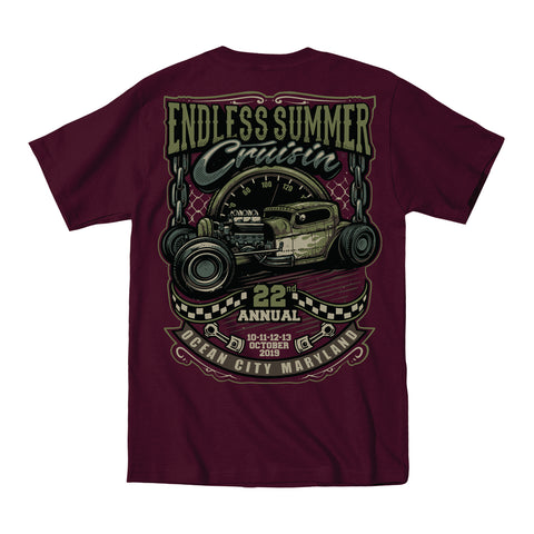 2019 Cruisin Endless Summer official car show event t-shirt maroon Ocean City MD rr