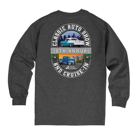 38th Annual Classic Auto Show 2021 event t-shirt long sleeve heather charcoal