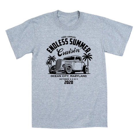 2020 Cruisin Endless Summer official car show event t-shirt gray Ocean City MD