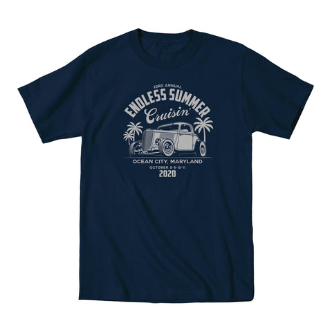2020 Cruisin Endless Summer official car show event t-shirt navy Ocean City v2