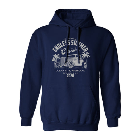 2020 Cruisin Endless Summer official car show hooded sweatshirt navy Ocean City MD