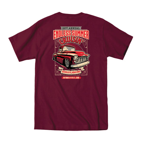 2020 Cruisin Endless Summer official car show event t-shirt maroon Ocean City MD