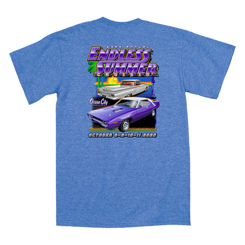 2020 Cruisin Endless Summer official car show event t-shirt heather royal Ocean City MD
