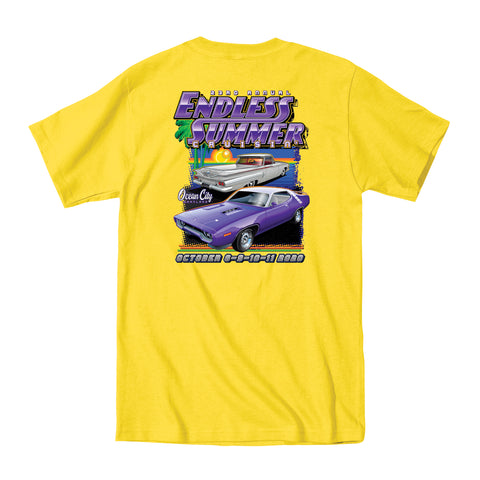 2020 Cruisin Endless Summer official car show event t-shirt yellow Ocean City MD