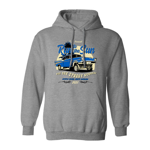 2021 Run to the Sun official car show hooded sweatshirt athletic gray Myrtle Beach, SC