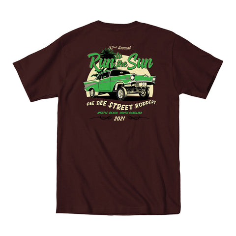2021 Run to the Sun official car show event t-shirt brown Myrtle Beach, SC