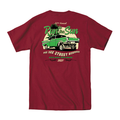 2021 Run to the Sun official car show event t-shirt maroon Myrtle Beach, SC
