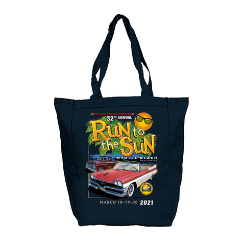 2021 Run to The Sun official car show navy blue tote bag Myrtle Beach SC