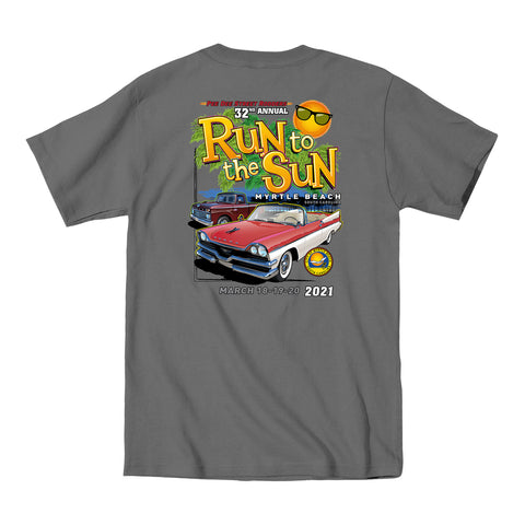 2021 Run to the Sun official car show event t-shirt charcoal Myrtle Beach, SC