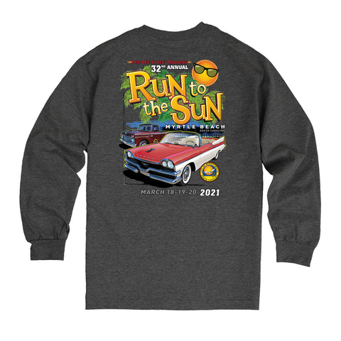 2021 Run to the Sun official car show long sleeve t-shirt charcoal Myrtle Beach, SC