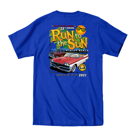 2021 Run to the Sun official car show event t-shirt royal blue Myrtle Beach, SC