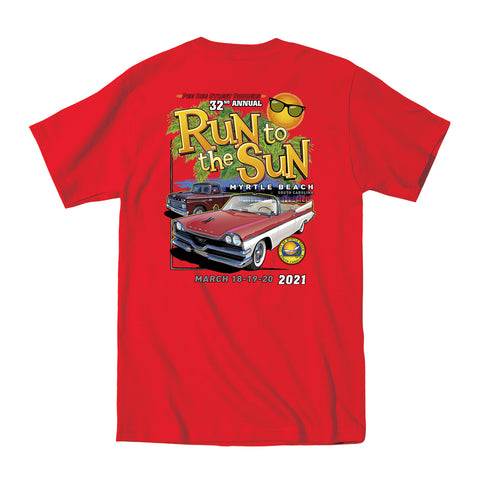 2021 Run to the Sun official car show event t-shirt red Myrtle Beach, SC