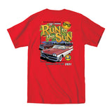 2021 Run to the Sun official car show event pocket t-shirt red Myrtle Beach, SC