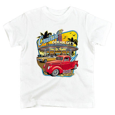 2016 Cruisin official classic car show event youth t-shirt white Ocean City Maryland