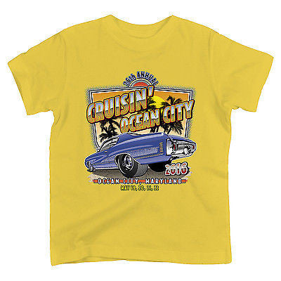2016 Cruisin official classic car show event youth t-shirt yellow Ocean City Maryland