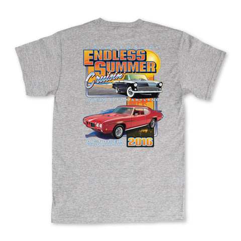 2016 Cruisin Endless Summer official car show event t-shirt gray Ocean City Maryland