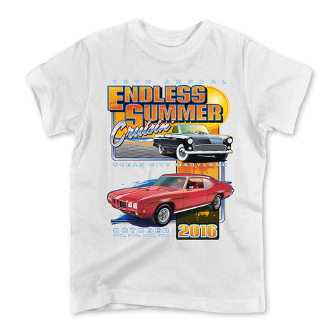 2016 Cruisin Endless Summer classic car show event youth t-shirt white Ocean City MD