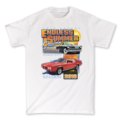 2016 Cruisin Endless Summer official car show event t-shirt white Ocean City MD