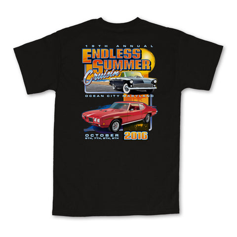 2016 Cruisin Endless Summer official car show event t-shirt black Ocean City MD