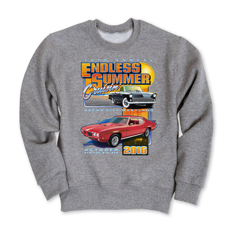 2016 Cruisin Endless Summer official classic car show gray sweatshirt Ocean City MD