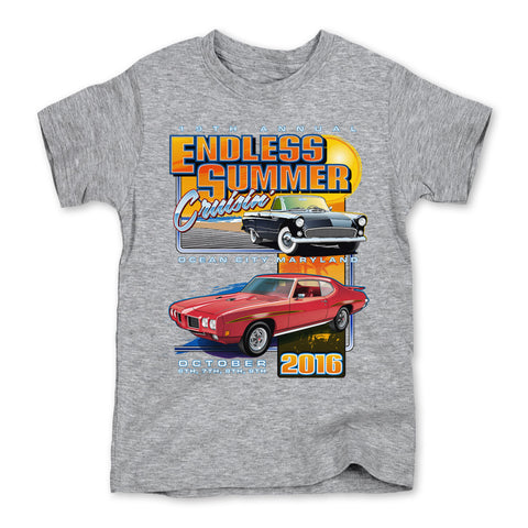 2016 Cruisin Endless Summer classic car show event youth t-shirt gray Ocean City MD