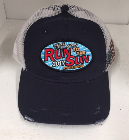 2017 Run to the Sun official car show event trucker hat navy/white with USA Flag Myrtle Beach SC