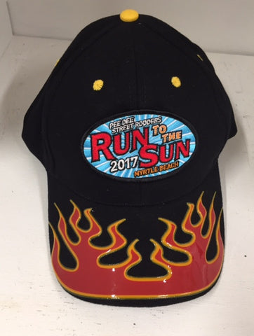 2017 Run to the Sun official car show event hat black w red flame Myrtle Beach SC