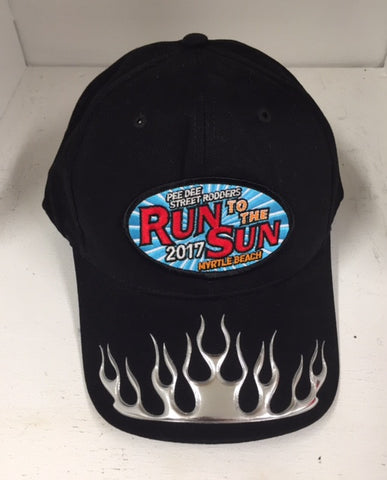 2017 Run to the Sun official car show event hat black w silver flame Myrtle Beach SC