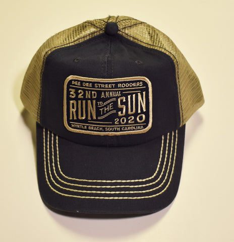 2020 Run to the Sun official car show event trucker hat navy blue and tan