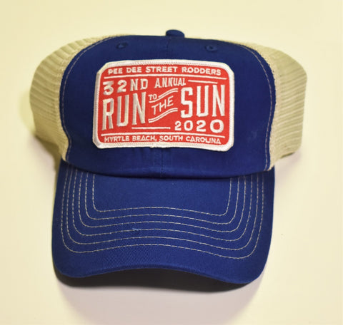 2020 Run to the Sun official car show event trucker hat royal blue and tan