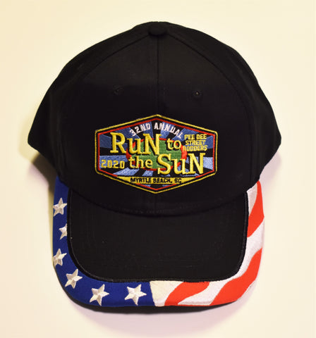 2020 Run to the Sun official car show event hat black with USA flag bill