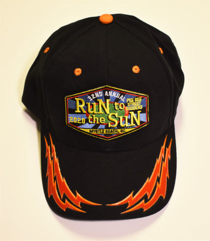 2020 Run to the Sun official car show event hat black with red flames