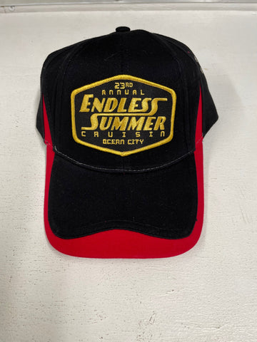 2020 Endless Summer Cruisin official car show event hat black with red striped rim