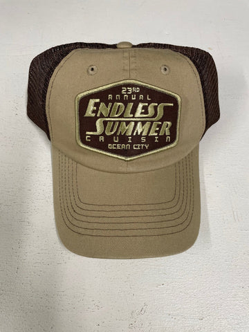 2020 Endless Summer Cruisin official car show event hat tan with brown mesh