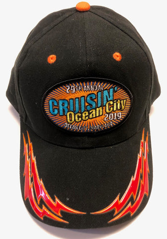 2019 Cruisin official car show event hat black with red/orange flame Ocean City MD