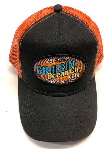 2019 Cruisin official car show event trucker hat black and orange Ocean City MD