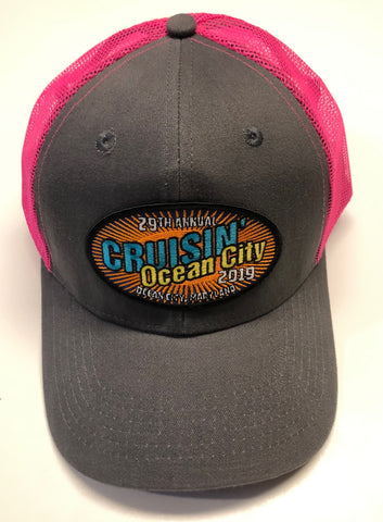 2019 Cruisin official car show event hat pink and gray Ocean City MD