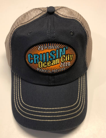 2019 Cruisin official car show event trucker hat navy and tan Ocean City MD