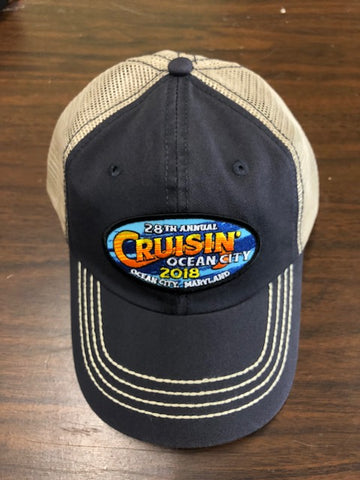2018 Cruisin official car show event trucker hat navy and tan Ocean City MD