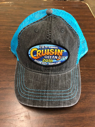 2018 Cruisin official car show event trucker hat gray and blue Ocean City MD