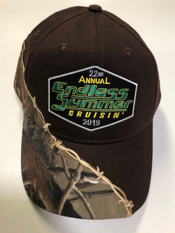 2019 Endless Summer Cruisin official car show event hat brown with camo