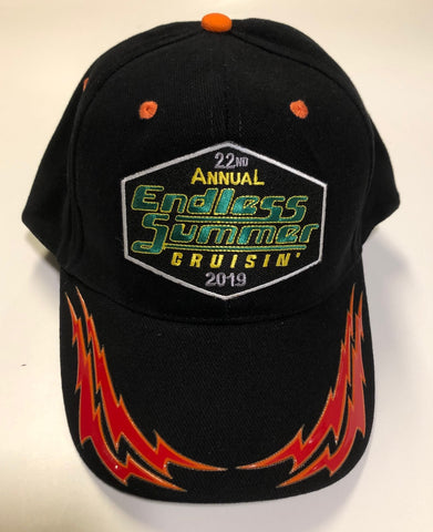 2019 Endless Summer Cruisin official car show event hat black with red/orange flame