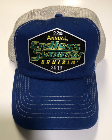 2019 Endless Summer Cruisin official car show event trucker hat royal blue and tan