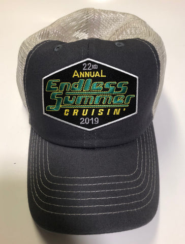 2019 Endless Summer Cruisin official car show event trucker hat gray and tan
