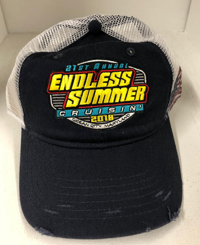 2018 Cruisin Endless Summer official car show event trucker hat navy/white USA flag OC MD