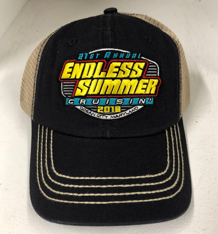 2018 Cruisin Endless Summer official car show event trucker hat navy and tan OC MD